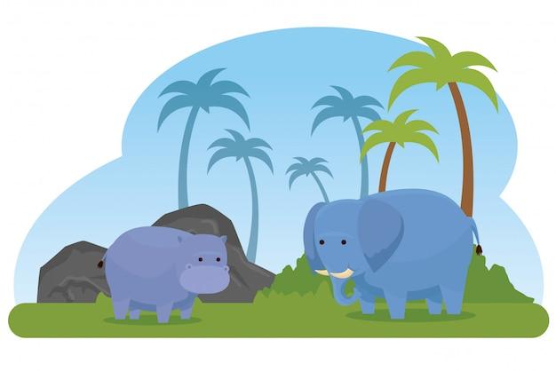 Animais selvagens de hipopótamo e elefante com palmeiras Vetor grátis