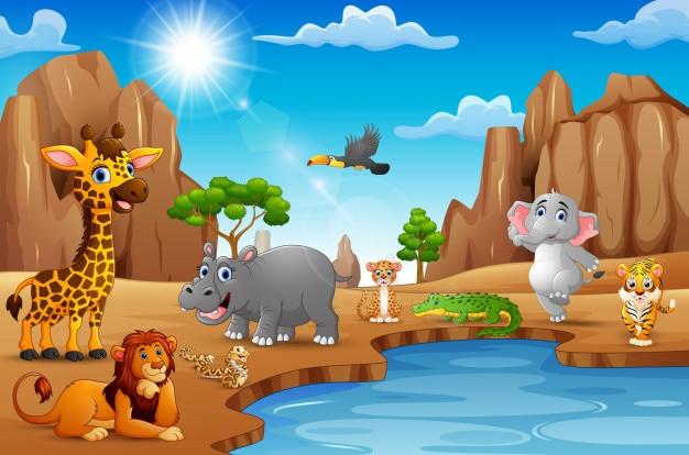 Animais selvagens dos desenhos animados que vivem no deserto Vetor Premium