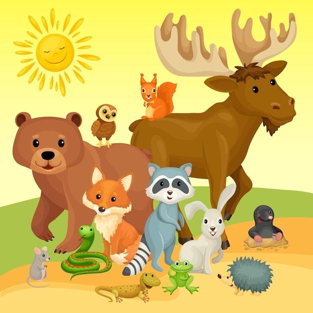 Animais selvagens na borda da floresta. Vetor grátis