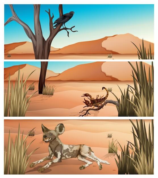 Animais selvagens que vivem em sobremesa Vetor grátis
