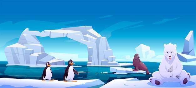 Animais selvagens sentados em blocos de gelo no mar, urso branco segurando peixes, pinguins e focas. habitantes da antártica ou do pólo norte em área externa, oceano. animais na fauna da natureza, ilustração dos desenhos animados Vetor grátis