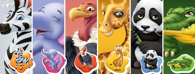 Animais selvagens. zebra, elefante, abutre, girafa, panda, crocodilo. conjunto de ícones Vetor Premium