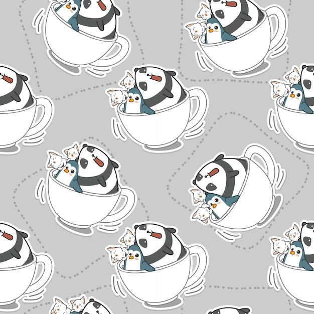 Animais sem emenda no padrão de xícara de café. Vetor Premium