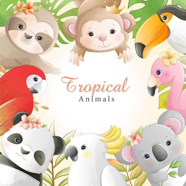 Animais tropicais bonitos dos desenhos animados em aquarela com flores Vetor Premium