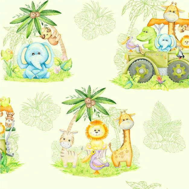 Animais tropicais, plantas, flores, suv ... estilo aquarela Vetor Premium