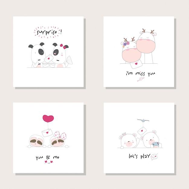 Animal animal ajustado dos desenhos animados da coleção. cão, girafa, preguiça. urso mão ilustrações desenhadas Vetor Premium