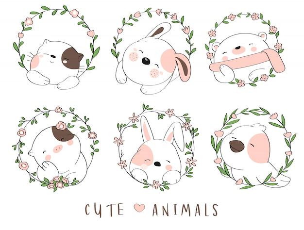Animal bebê fofo com estilo de mão desenhada flor fronteira dos desenhos animados Vetor Premium