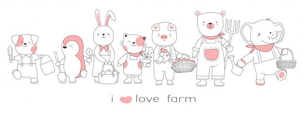 Animal bebê fofo com o estilo de mão desenhada fazenda dos desenhos animados Vetor Premium