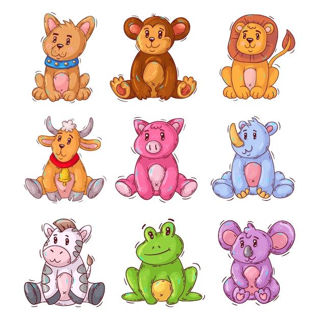 Animal bebê fofo dos desenhos animados Vetor Premium