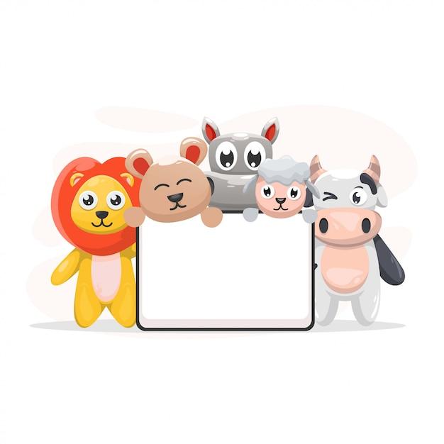 Animal bonito com desenhos animados do quadro-quadro Vetor Premium