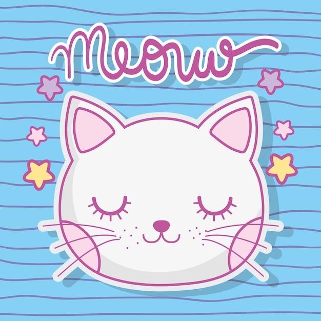 Animal bonito da cabeça do gato com estrelas Vetor Premium