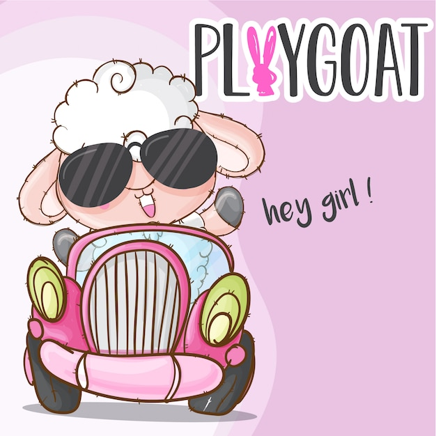 Animal bonito de ovelhas no carro Vetor Premium