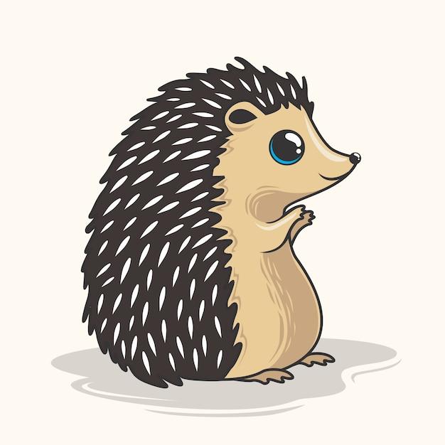 Animal bonito do porco-espinho dos desenhos animados do ouriço Vetor Premium