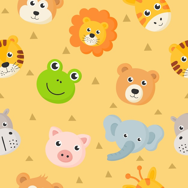 Animal bonito do teste padrão sem emenda enfrenta o ícone ajustado para as crianças isoladas no fundo amarelo. Vetor Premium