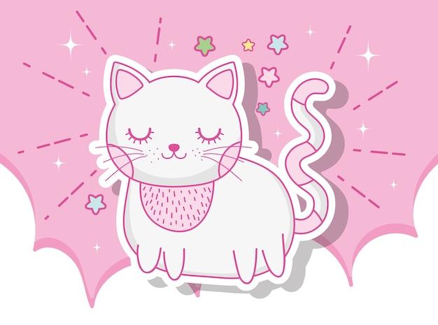 Animal bonito gato nas nuvens com estrelas Vetor Premium