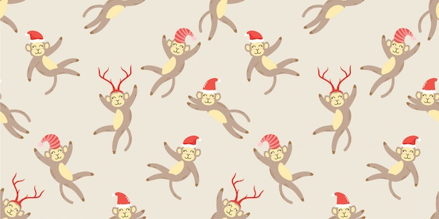Animal bonito inverno macaco sem costura padrão doodle Vetor Premium