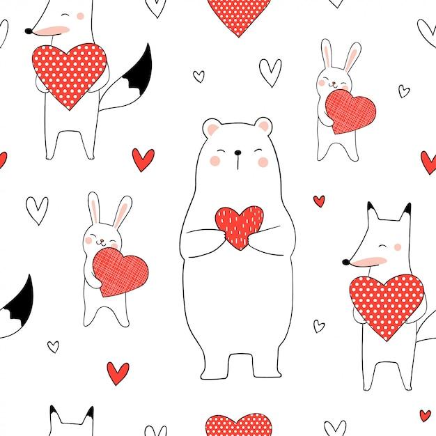 Animal bonito padrão sem emenda, segurando o coração vermelho para dia dos namorados Vetor Premium