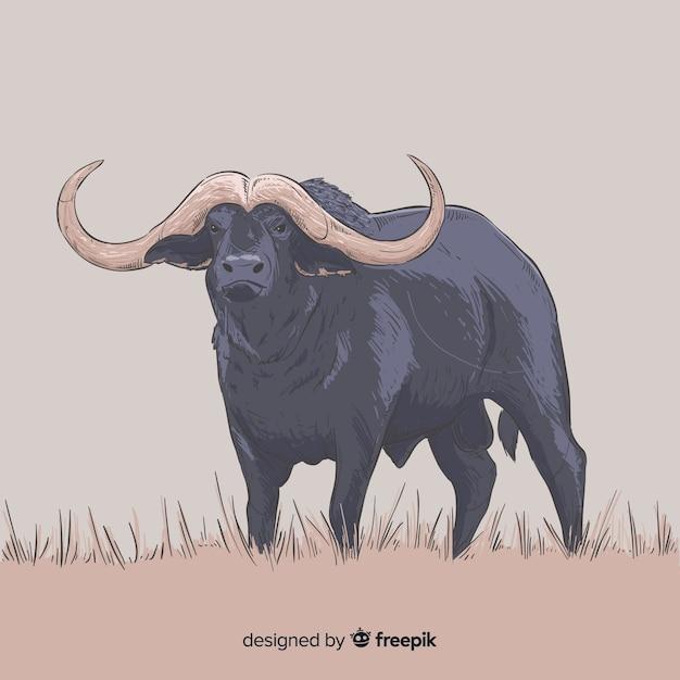 Animal de búfalo desenhado à mão realista Vetor grátis