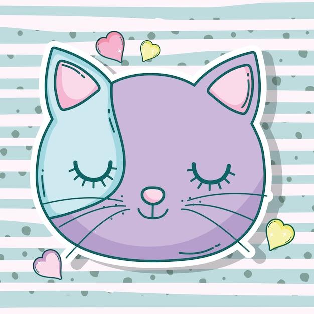 Animal de estimação de cabeça de gato com corações Vetor Premium