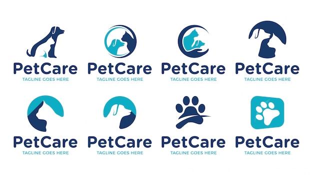 Animal de estimação gato cão loja animal logotipo modelo conjunto Vetor Premium