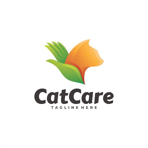 Animal de estimação gato e cuidados mão logotipo Vetor Premium
