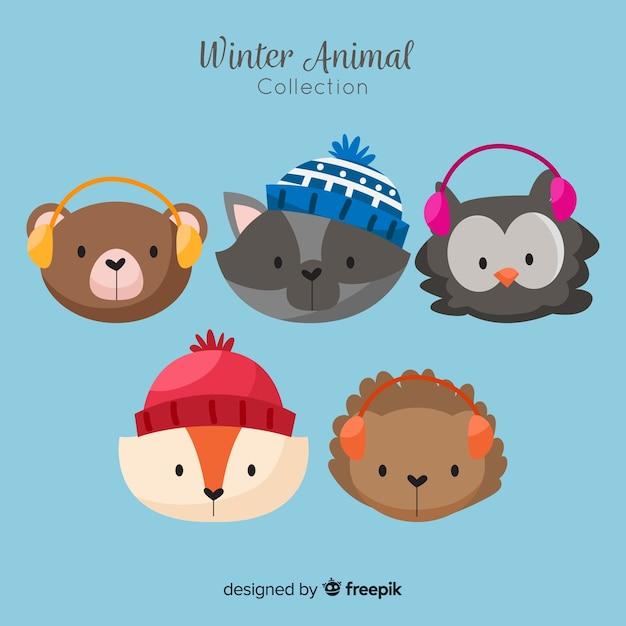 Animal de inverno bonito enfrenta coleção Vetor grátis