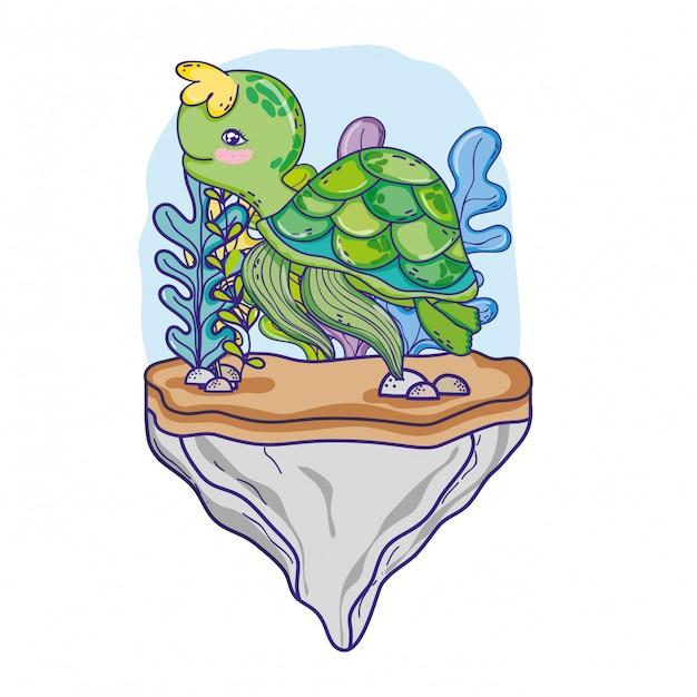 Animal de tartaruga na pedra com plantas de algas Vetor Premium