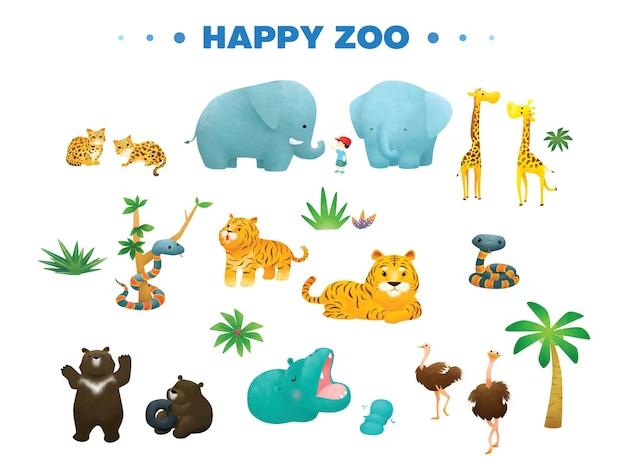 Animal De Variedade Em Desenhos Animados De Zoológico