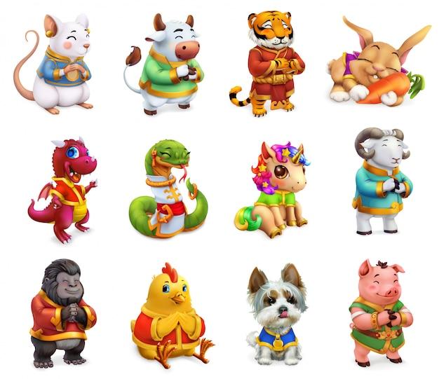 Animal engraçado no zodíaco chinês, rato, boi, tigre, coelho, dragão, cobra, cavalo, ovelha, macaco, galo, cão, ig. calendário chinês, conjunto de ícones 3d Vetor Premium