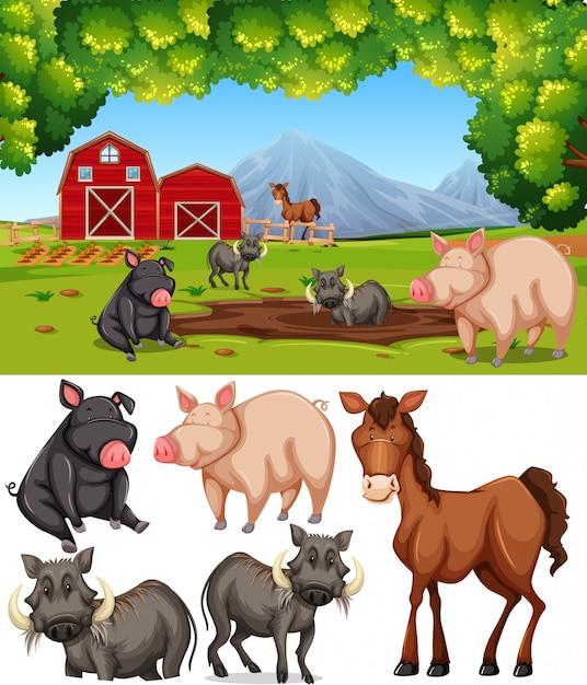 Animal fazenda, em, terra cultivada Vetor grátis