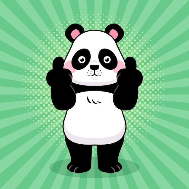 Animal fofo mostrando o símbolo de foda-se Vetor Premium