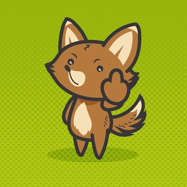 Animal fofo mostrando símbolo de foda-se Vetor grátis