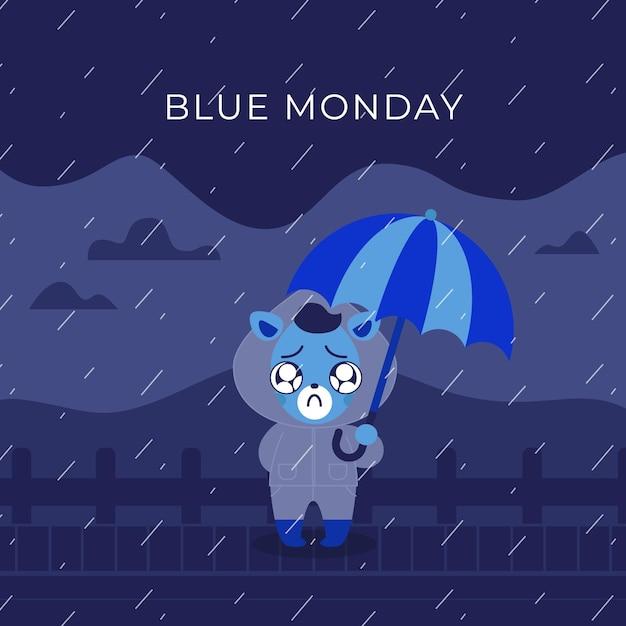 Animal fofo triste na segunda-feira azul Vetor grátis