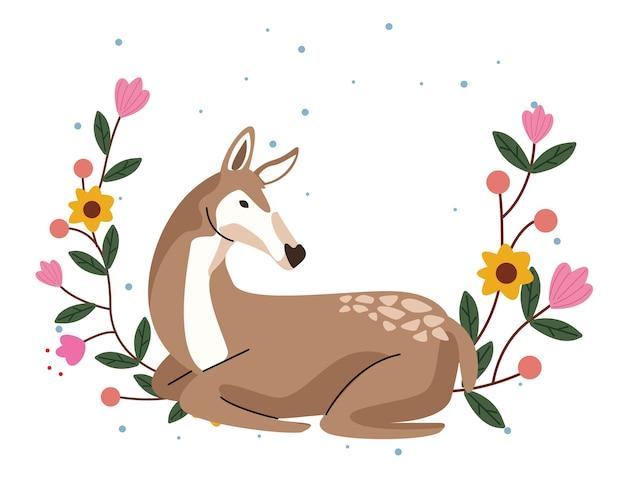 Animal fulvo selvagem com jardim de flores Vetor Premium
