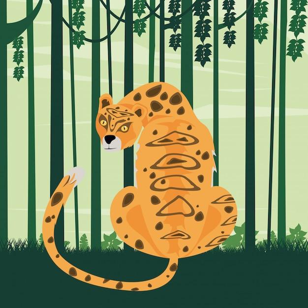 Animal leopardo na cena da selva Vetor Premium