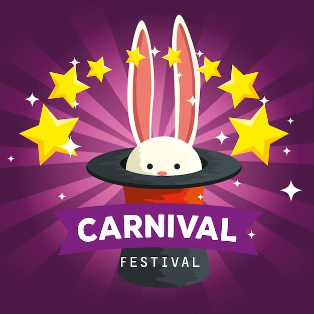 Animal selvagem coelho dentro de chapéu com estrelas para a celebração do carnaval Vetor Premium