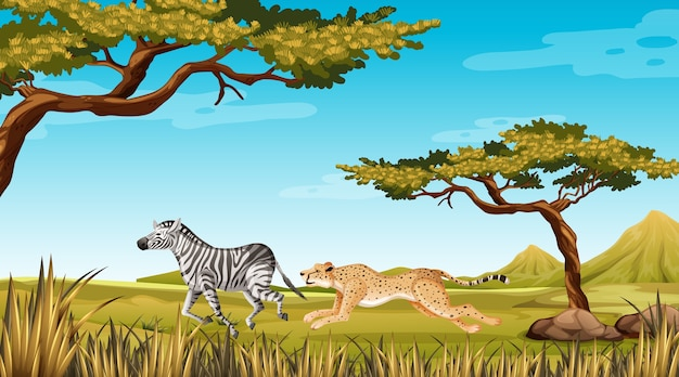 Animal selvagem correndo na natureza Vetor grátis