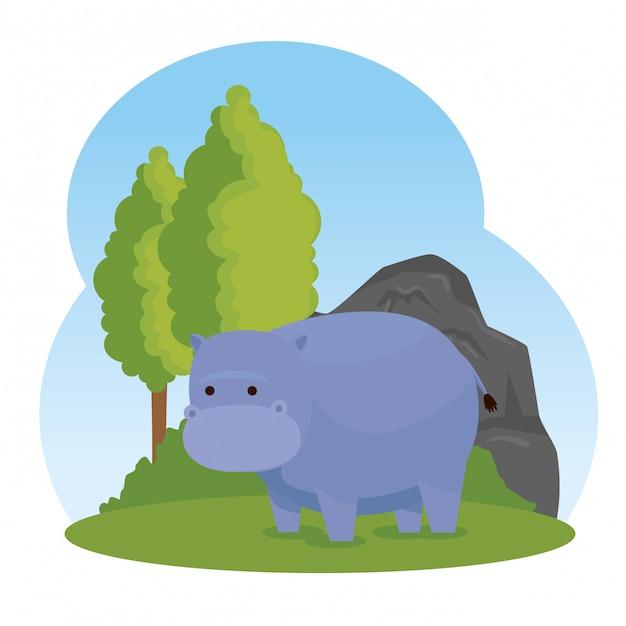 Animal selvagem hipopótamo com árvores e arbustos Vetor grátis