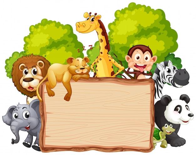Animal selvagem na bandeira de madeira Vetor Premium