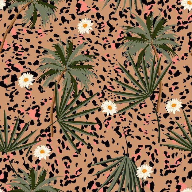 Animal sem costura imprime padrão com plantas tropicais e estampas de leopardo. Vetor Premium