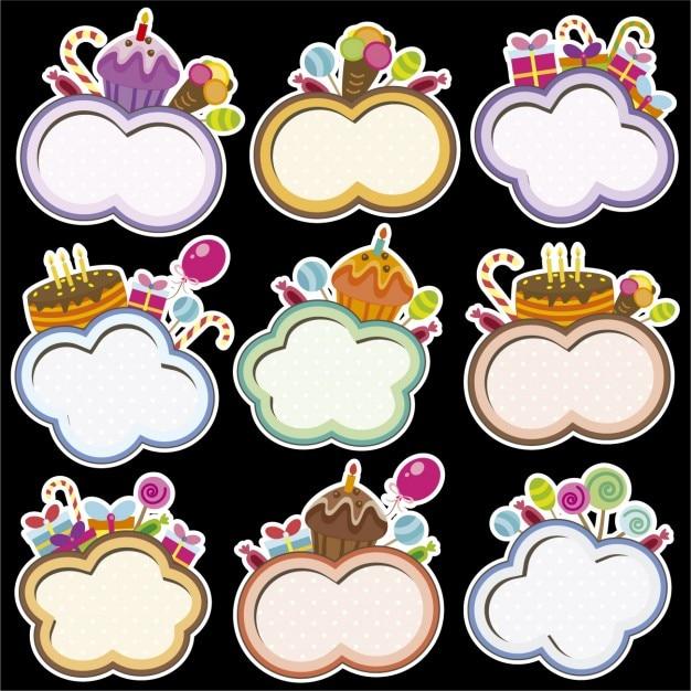 Aniversário armações com forma da nuvem Vetor grátis