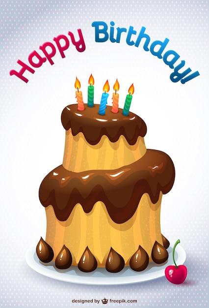 Aniversário bolo cartão Vetor grátis