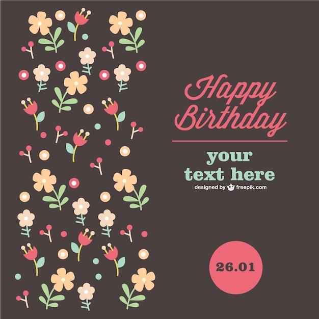 Aniversário cartão floral Vetor grátis