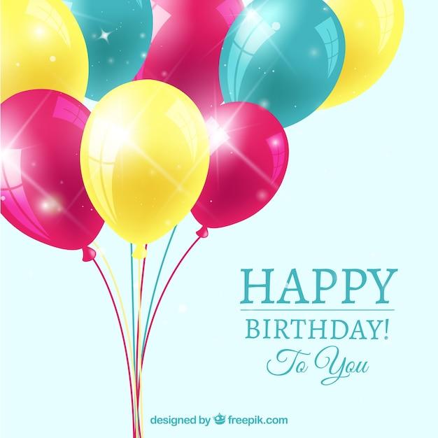 Aniversário com balões coloridos Vetor grátis