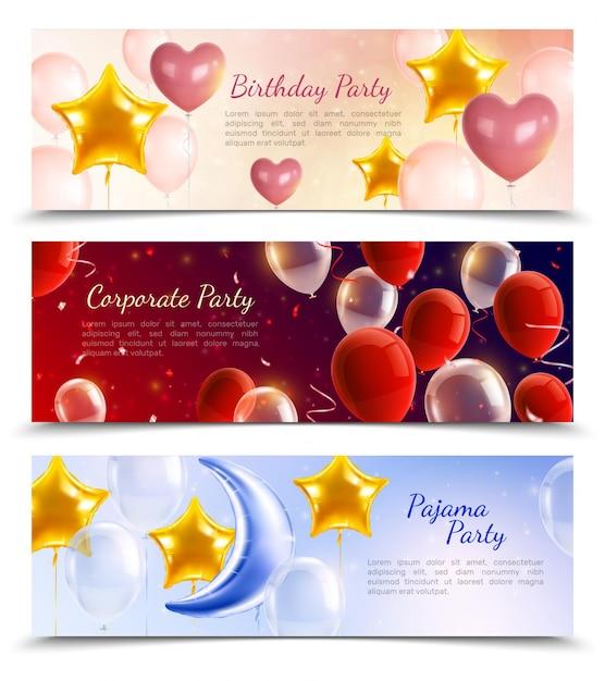 Aniversário corporativa e pijama festa três banners horizontais decorados por balões de ar quente em forma de bolas corações e estrelas realistas Vetor grátis