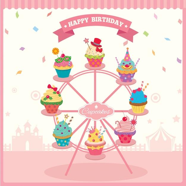 Aniversário da roda de ferris do queque Vetor Premium