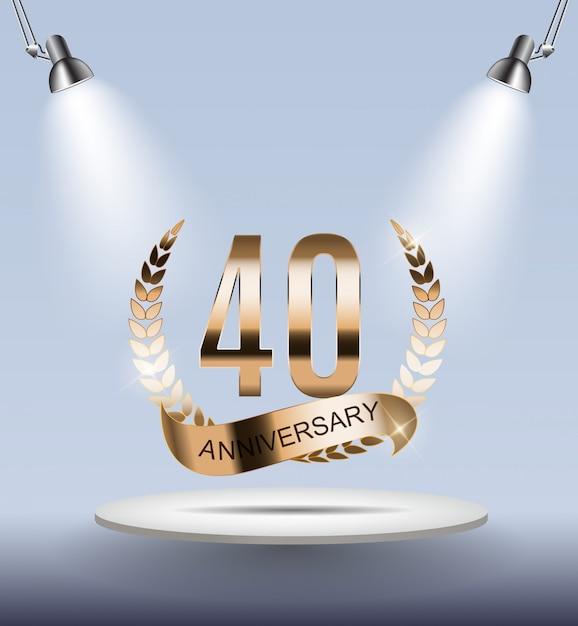 Aniversário de 40 anos do logotipo do molde Vetor Premium