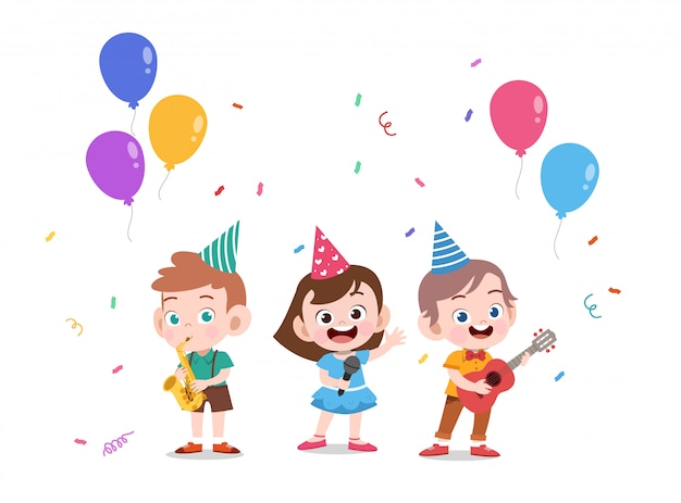 Aniversário de crianças Vetor Premium
