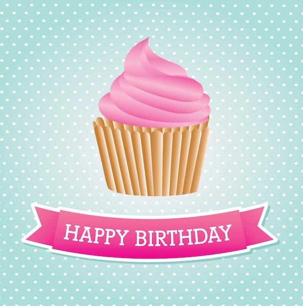 Aniversário do bolo do copo Vetor Premium