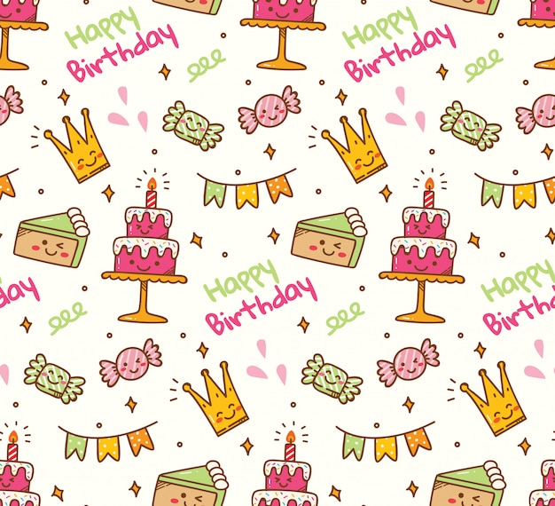 Aniversário doodle fundo sem emenda Vetor Premium